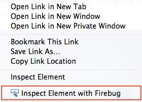 Inspect element with firebug