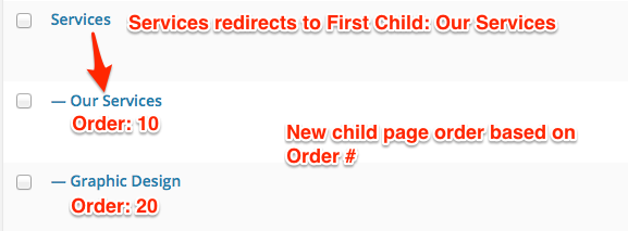 New page order with Services parent page redirecting to Our Services