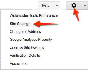 Webmaster Tools Site Settings