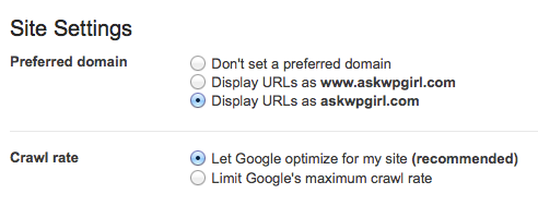 Webmaster Tools setting preferred domain