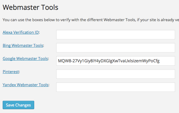Verifying Google Webmaster Tools using the WordPress SEO plugin by Yoast